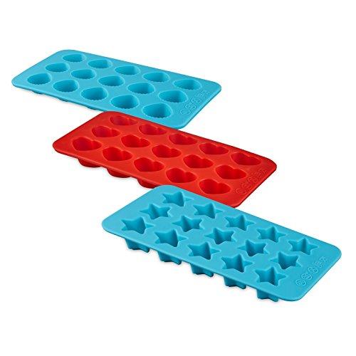 Set van 3 siliconen vormen - voor ijsblokjes, bonbons, chocolade, snoepjes, zeep en nog veel meer. - 3 verschillende motieven in de set: hart, schelp, ster