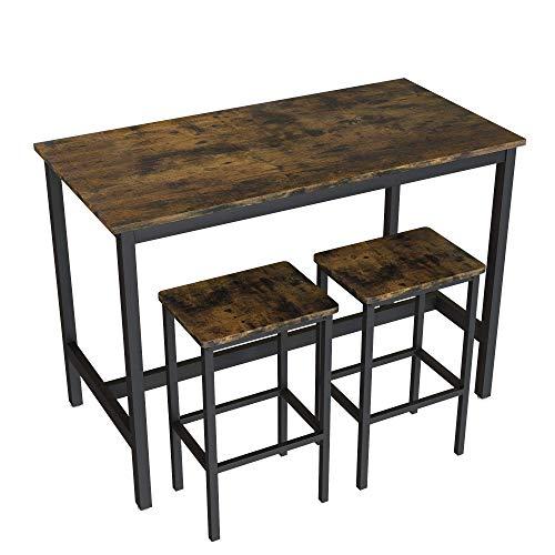 LDDLDG Zestaw stołów do jadalni na 2 metalowe nogi stołki na blat kuchenny nook śniadanie drewniany blat, mały stolik i krzesła