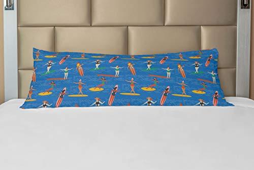 ABAKUHAUS Surfen Hoes voor Ligzak met Rits, Vrouw Surfers in Bikini, Decoratieve Lange Kussensloop, 53 x 137 cm, Veelkleurig
