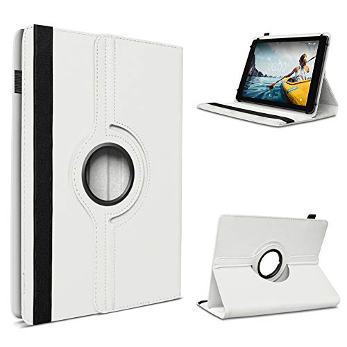 UC-Express Tablet Hülle kompatibel für Medion Lifetab P10710 P10612 P10610 P10603 P9701 P9702 P10606 P10602 X10605 X10607 P10506 Standfunktion 360° Drehbar, Farben:Weiß