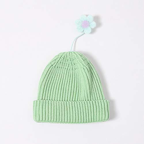 wopiaol Bonnet tricoté pour Enfants Automne et Hiver Version coréenne Mignonne du vibrato Petite Fleur Petit Bonnet de bébé Vierge Bonnet de Laine Chaud