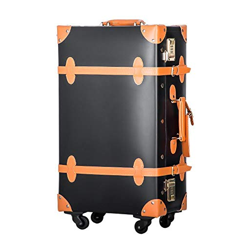 TANOBI トランクケース スーツケース キャリーバッグ SSサイズ機内持ち込み可 復古主義 おしゃれ 可愛い 5色4サイズ (ブラック×オレンジ, Lサイズ(5泊以上))