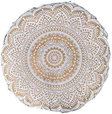 "Indian Craft Castle 32"" Gold Mandala Barmeri Large Floor Pillow Cover Cushion Meditation Seating Ottoman Throw Cover Hippie Decorative Zipped Bohemian Pouf Ottoman Poufs, Pom Pom Pillow Cases (White)"