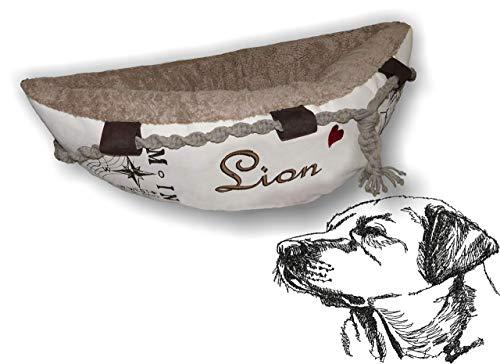 LunaChild Hundebett Hund Boot Böötchen Labrador Retriever 1 Hundeboot Sofa Lounge Hundelounge mit Name Wunschname Snuggle Bag Größe XS S M L viele Farben Hundekorb