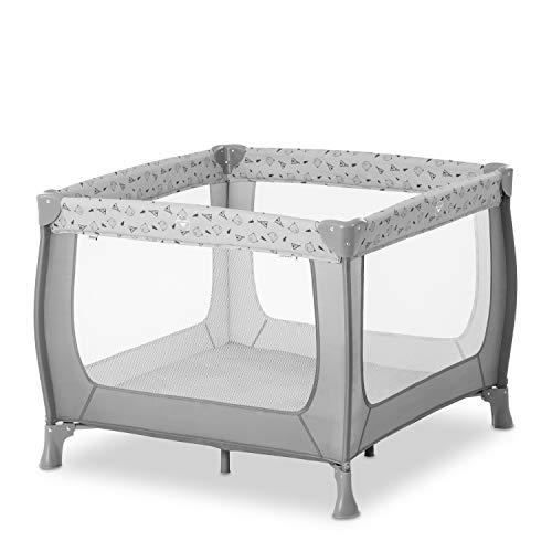 Hauck Laufstall Sleep N Play SQ / Reisebett für Babys und Kinder / ab Geburt bis 15 kg / Quadratisch 90 x 90 cm / Kompakt Faltbar / Inkl. Trage Tasche / Nordic Grau