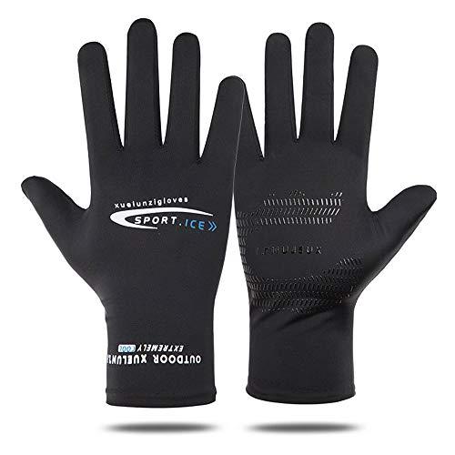メンズグローブ 夏用 冷感 メンズ手袋 サイクルグローブ UV カット 日焼け防止 運転用 自転車グローブ 涼しい タッチパネル対応 滑り止め加工 通気性 フリーサイズ (全指黒)
