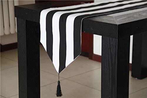 Striped Curtains Vorhänge aus Segeltuch, gestreift, Schwarz/Weiß Table Runner 12