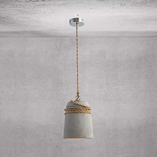 KWOKING Lighting Industrial Concrete Bell Shade Pendant Ceiling Light Loft Hanging Ceiling Light with Hemp Rope Barn Lighting for Bar Cafe Bedroom Grey Finish