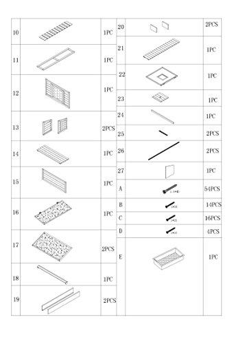 dobar 23033FSC Großer dekorativer Hühnerstall oder Kleintierstall XL mit Freigehege, Pflanzkasten und Legebox, 126 x 128 x 143 cm, weiß-braun-schwarz - 17