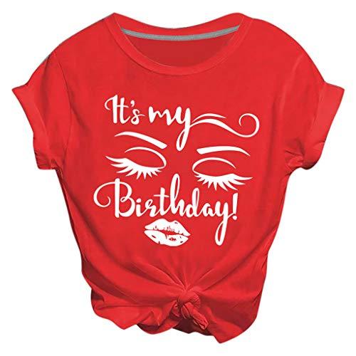 ZHANSANFM Damen T-Shirts Bauchfrei Oberteile Teenager Mädchen T-Shirts Kurzarm Rundhals Tops Tunika It's My Birthday Bedruckte Tshirts (M, rot)