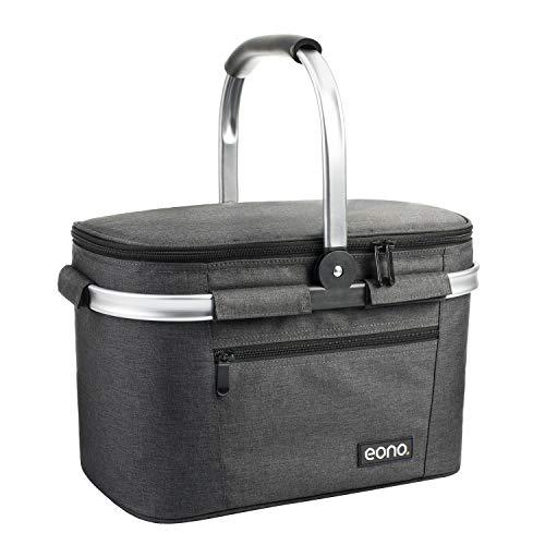 Eono by Amazon - Picknickkorb 22L, isolierter Korb, Kühltasche für den Außenbereich, Dunkelgrau, M