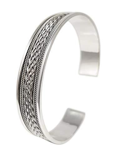 TreasureBay Armreif für Damen und Herren, keltisches Design, geflochten, 925 Sterling Silber