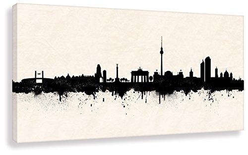 Berliner Wandbild - Berlin Skyline SW (div. Größen) 3D 4cm - Kunstdruck Leinwandbild Graffiti Loungebild Bürobild 70x140cm