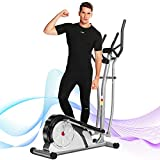 FUNMILY Elliptical Machine, Portable Magnetic Ellptical Exercise Machine with LCD Display for Home Office Use (Gray)