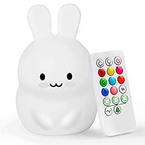 Yuede Kids Night Light (Silicone Light) USB Rechargeable Rabbit Night Light, 9 Color Change Sensitive Tap Control for Baby/Kids/Adult Bedroom, Remote Control