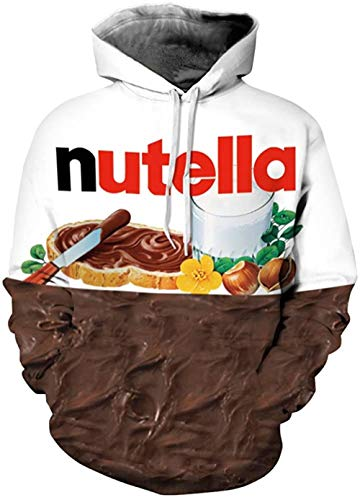 Qbbes Unisex Realistic 3D Digitaldruck Pullover Hoodie Hooded Sweatshirt Lion-Nutella_XX-Large-3X-Large