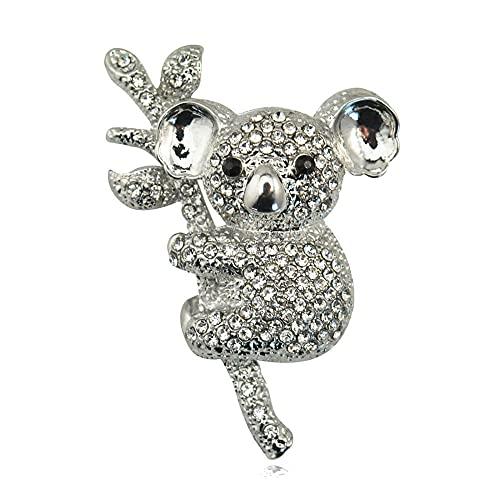 Broche Completo Rhinestone Lindo Koalas Animal Broches para las Mujeres Animal Corsage Todo-Fósforo Vestido de Verano Joyería Pins