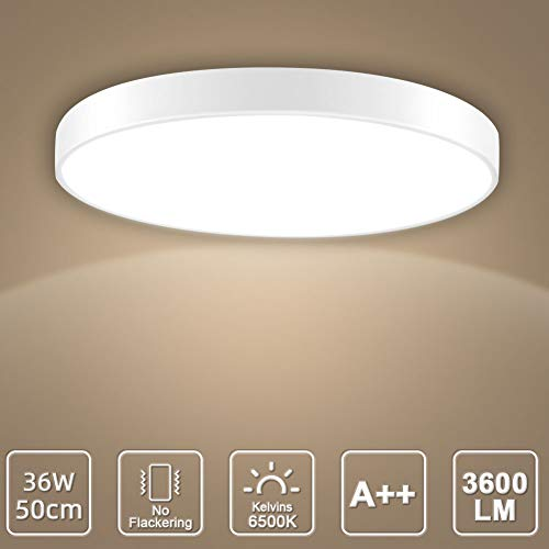 LED Deckenleuchte, LED Deckenlampe, Kaltweiß Warmweiß Rund Modern Led Deckenleuchten Schlafzimmer Küche Wohnzimmer Lampe für Balkon Flur Küche Wohnzimmer IP20[Energieklasse A+] (Kaltweiß, 36W(50cm))