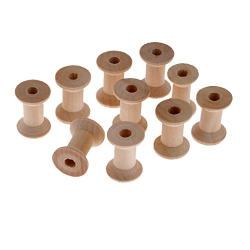 perfk 10 Stück Holzspulen Garnspulen Nähmaschinenspulen 28 x 21 mm