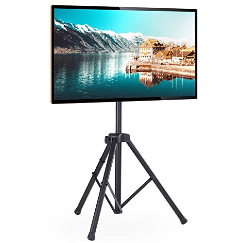 Rfiver Portable Tripod TV Display Floor Stand with Swivel Mount for 32'-60' Plasma LCD, LED, OLED Flat and Curved Screen TVs, Height Adjustable and Legs Foldable, Max VESA 400x400mm, Black DS1001