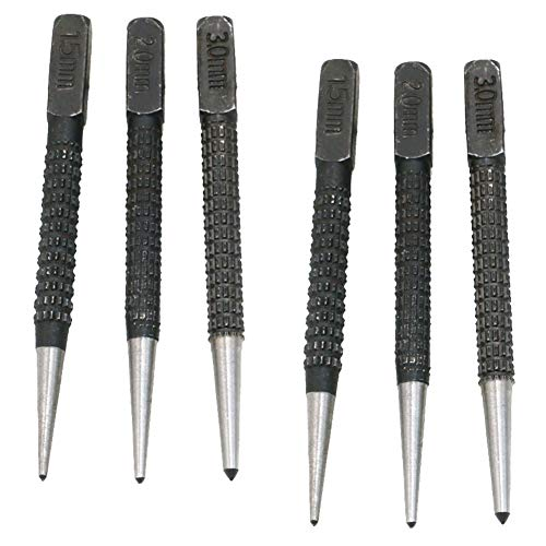 6 Piece Centre Punch Set Non-Slip Automatic Centre Hole Punch Tool Locator Impact Window Breaker Hand DIY Marking Hole Drilling Tool for Metal Wood