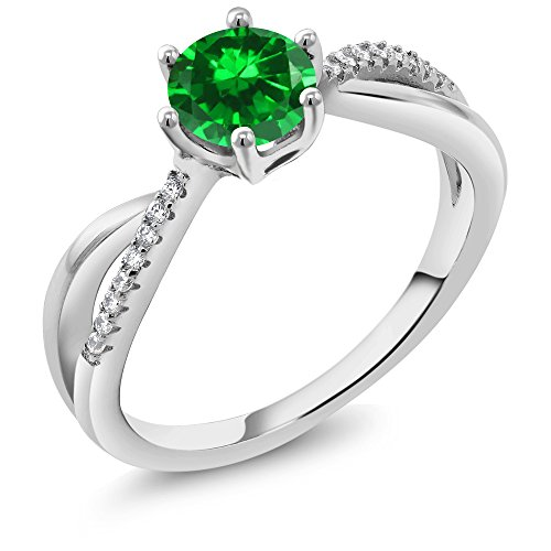 Green Simulated Emerald Women's Engagement Ring by Gem Stone King