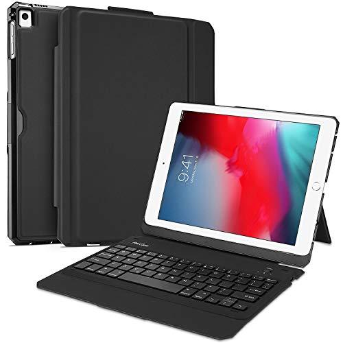 ProCase toetsenbord hoes voor iPad 9.7 2018 2017 5th/6e generatie (QWERTY-US lay-out), ultradunne beschermhoes met afneembaar draadloos Engels toetsenbord multi-blikhoek standaard cover case -zwart