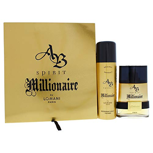 AB Spirit Millionaire by Lomani for Men - 2 Pc Gift Set 3.4oz EDT Spray, 6.8oz Deodorant Spray