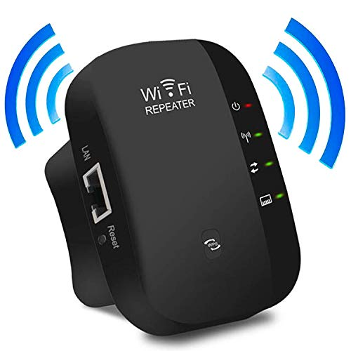 WiFi Extender, WiFi Repeater WiFi Signal Booster | Up to 300Mbps | Access Point | Easy Set-Up | 2.4G Network with Integrated Antennas LAN Port & Compact Designed Internet Booster, Black