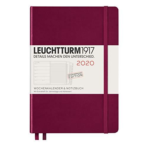 Wochenkalender & Notizbuch 2020 Hardcover Medium (A5), 12 Monate, Port Red, Deutsch
