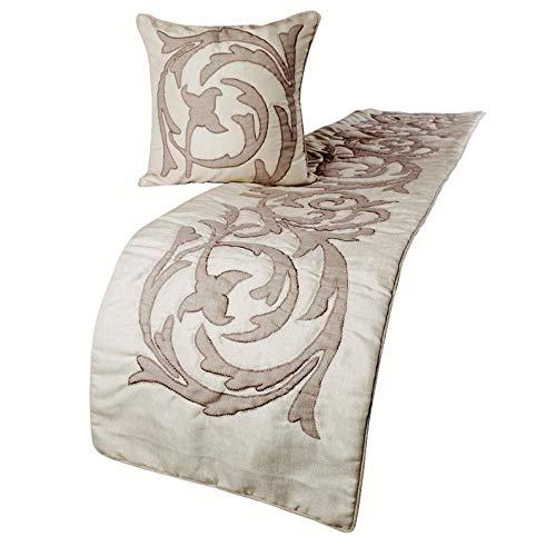 The HomeCentric Dekorativ Elfenbein und Beige 170 x 45 cm Bett Renner, Leinen Lurex Applique Bett Schal, Abstrakt Modern - Pretty Dainty