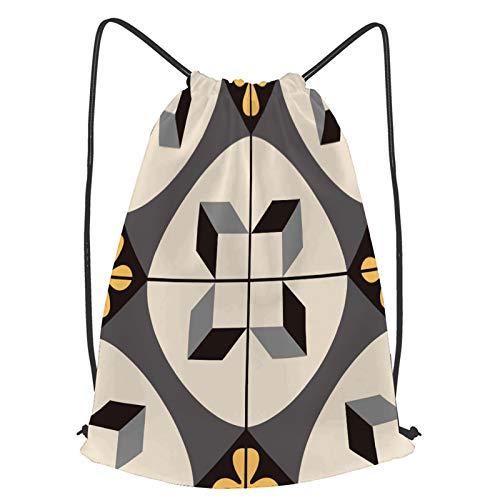 Impermeable Bolsa de Cuerdas Saco de Gimnasio patrón de baldosas de cerámica sin fisuras Deporte Mochila para Playa Viaje Natación