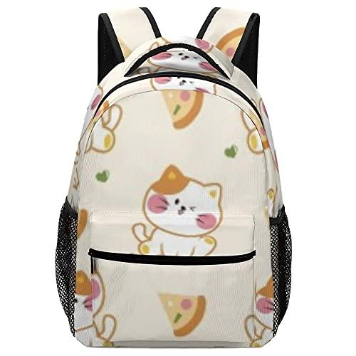 Mochila escolar con diseño de gato y pizza, mochila escolar para niños, mochila para portátil, mochila escolar con bonito estuche para bolígrafo, unisex, adolescentes, niñas y niños