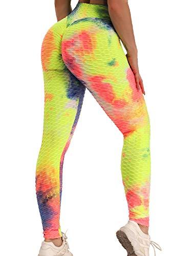 FITTOO Leggings Push Up Mujer Mallas Pantalones Deportivos Alta Cintura Elásticos Yoga Fitness Colorido XL