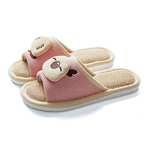 YXCKG Zapatillas para Mujer Hombre Unisex Zapatillas De Estar por Casa De Lino Pantuflas De Punta Abierta Zapatilla De Dormitorio, Zapatillas De Pareja Transpirables Y Cómodas