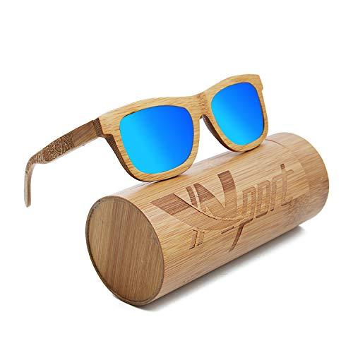 Ynport Bambus-Sonnenbrille für Herren/Damen, klassisches Design, mit Holz beschichtet, Vintage-Stil, Floating Eyewear (blau 853)