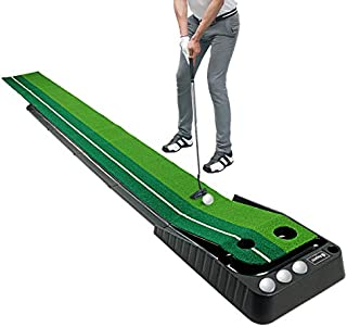 Asgens Golf Putting Green Mat with Auto Ball Return System 2 Holes / 2 Sizes Mini Golf Game Practice Equipment and Golf Gifts for Men Home Office Backyard Indoor Outdoor Use - 9.8 Feet