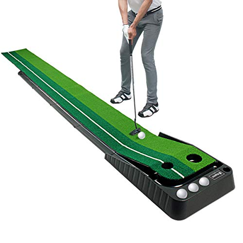 Asgens Golf Putting Green Mat with Auto Ball Return System 2 Holes / 2 Sizes Mini Golf...