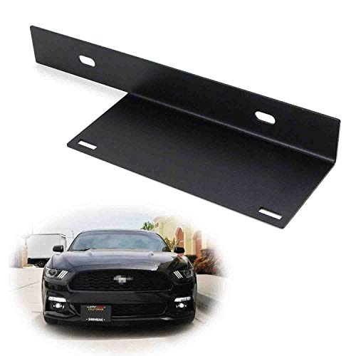 iJDMTOY No-Drill Front License Plate Relocator Bracket Compatible with 2015-up Gen6 Ford Mustang