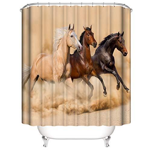 LLLTONG Duschvorhang Polyesterfaser 3D Badvorhang wasserdicht Mehltau Vorhang Pferd