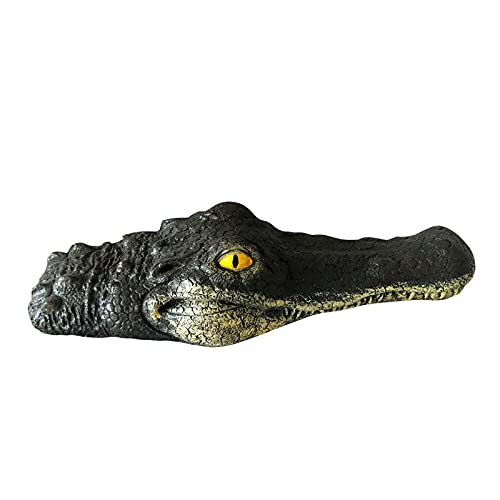 FHCGZSST Floating Crocodile Head,Water Feature Garden Ornament, Floating Crocodile Head Garden Or Pond Art Decor For Goose,Predator,Heron,Duck Blue Heron Decoy?Fake Alligator Head Pool Float (A)