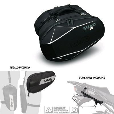 Kit-shad-28 - Kit Fijaciones y Bolsas semirigidas + Bolsa Pierna Regalo 3D e48 Compatible con Kawasaki z800 2013-2016