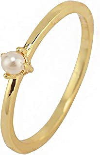18K Gold Tiny Fresh Pearl Stackable Finger Rings Size 6 7 8 for Women Girls Birthday Gift Jewelry