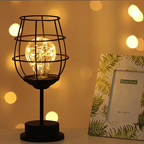 Luz de noche, Younar LED Luz Nocturna Elegante Alambre Cobre Artesanía de Hierro Botella Vino Lámpara…
