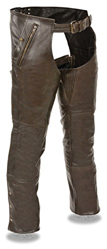 Milwaukee Men's Motorcycle Riders Pant Retro Brown Four Pocket Thermal Lined Leather CHAP (XL Regular)