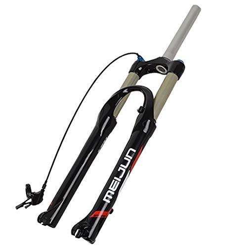 LSRRYD Suspensión Horquilla Suspensión Bicicleta Montaña 26 Pulgadas Horquilla Delantera Bicicleta Control Remoto Aleación Aluminio Freno Disco 1-1/8' Recorrido 100mm (Color : Black, Size : 26inch)