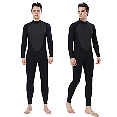 REALON Wetsuit Men Full 2/3mm Surfing Suit Diving Snorkeling Swimming Jumpsuit (2/3mm Black, M)