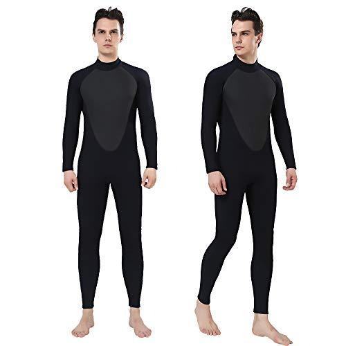 REALON Wetsuit 3mm Full Scuba Diving Suit Surfing Suits Snorkeling Suits Plus Size Jumpsuit Winter Swimming Suit Men (Black, Large)