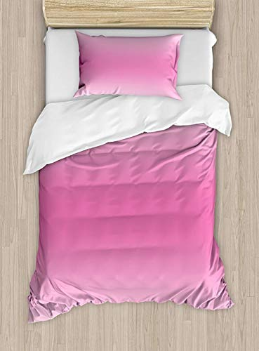 Butterfly Duvet Cover Set Small Double Size, Abstract Silhouette of a Girl with Pink Wings and a Floral Dress Spring Fairy Theme Art, A Decorative 3 Piece Bedding Set with 2 Pillow Shams, Multicolor