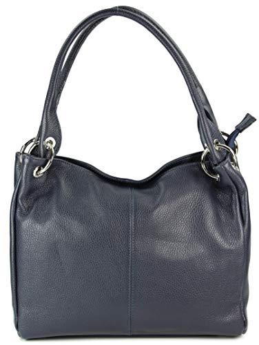 Belli italienische Leder Schultertasche Damentasche Handtasche Shopper Lilly in dunkelblau - 33x28x14 cm (B x H x T)